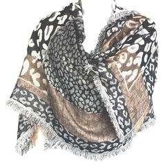 Silver Fever Brand Animal Print Mixed Prints Pashmina Shawl Scarf... (63 BRL) ❤ liked on Polyvore featuring accessories, scarves, gray scarves, silver stole, wrap shawl, shawl scarves and wrap scarves