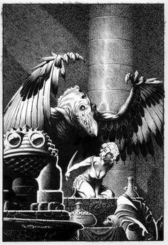 Pulp cover art by Mark Schultz, woman dame tied bound sacrifice knife monster bird creature fantasy danger