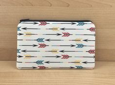 Small Zipper Pouch Cell Phone Purse Padded Arrow by ZestyNotion