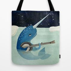 Narwhal's Aquarelle - Narwhal Plays Banjo Tote Bag by Prelude Posters - $22.00