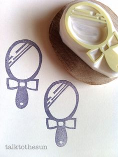 mirror rubber stamp  hand carved rubber stamp  by talktothesun
