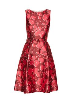 OSCAR DE LA RENTA Sleeveless Floral-Print Mikado Dress. #oscardelarenta #cloth #dress