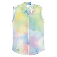Clouds Tie-dye Chiffon Vest$29 ($29) ❤ liked on Polyvore featuring tops, shirts, udobuy, blouses, vest top, tie dye shirts, tie-dye tops, chiffon vest and tie dyed tops