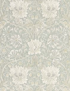"""Inspired from Arts & Crafts textile designer William Morris's watercolor paintings of """"Honeysuckle"""", this gravure printed wallpaper brings a striking botanical pattern to life. Featuring symmetrical tulip flowers with lush foliage in a neutr Dining Room Wallpaper, Bold Wallpaper, Botanical Wallpaper, Wallpaper Online, Print Wallpaper, Classic Wallpaper, Swedish Wallpaper, Wallpaper Designs For Walls, Farmhouse Wallpaper"""