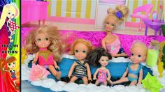 Elsa and Anna Toddlers have a bath Relax at Barbie Spa Sleepover at Jess...