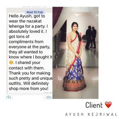 Client  Nazakat lengha set! Don't take my word for it hear it from the clients. Thank you so much  For purchases email me at  designerayushkejriwal@hotmail.com or what's app me on 00447840384707  We ship WORLDWIDE. #sarees#saris#indianclothes#womenwear #anarkalis #lengha #ethnicwear #fashion #ayushkejriwal#Bollywood #vogue #indiandesigners #handmade #britishasianfashion #instalove #desibride #bollywoodfashion #aashniandco #perniaspopupshop #style #indianbeauty #classy #instafashion…