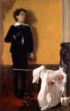 After the duel  Antonio Mancini (1852-1930) Italian impressionist 1872 Galleria Civica d'Arte Moderna e Contemporanea, Turin Oil on canvasAl