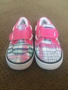 Polo Ralph Lauren Girl Navy Pink Plaid Boat Deck Canvas Toddler Shoes Size 8 #PoloRalphLauren #BoatDeckShoes
