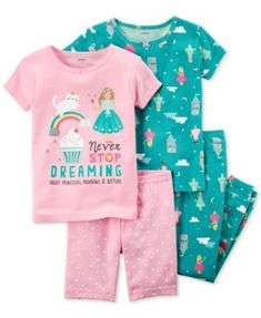 Carter's 4-Pc. Dreaming Princess Cotton Pajama Set, Toddler Girls