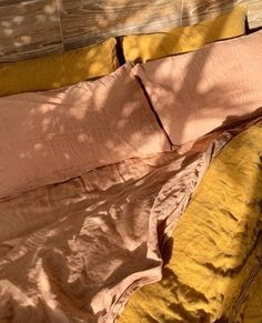 Jul 2019 - styles our Sandalwood & Mustard French Linen in the beautiful afternoon light Linen Sheets, Linen Bedding, Bedding Sets, Bed Linens, Bed Sheets, Bedding Decor, Comforter, Best Duvet Covers, Bed Linen Design