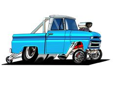 Full color prints of just about any the images you will ever see on my site are available for purchase Hot Rod Trucks, Old Trucks, Pickup Trucks, 67 Chevy Truck, Chevy S10, Chevy Pickups, Weird Cars, Cool Cars, Cartoon Car Drawing