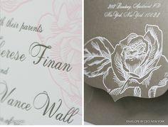 Ceci New York Luxury Wedding Invitations - wedding, invitations, letterpress printing, foil printing, laser-cut printing, die cut, custom envelope, pink, pewter, white, rose