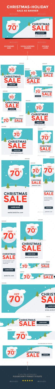Christmas - Holiday Sale Ad Web Banner Template PSD #design #promotion Download: http://graphicriver.net/item/christmas-holiday-sale-ad-banner/14062891?ref=ksioks
