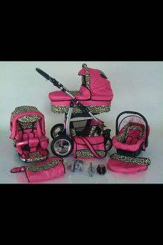 Leopard pink baby pram stroller accessories gift idea car seat adorable