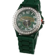 Baylor Bears LICENSED Collegiate Silicone Watch			  			  						  			  				 Baylor Bears officially Licensed Product  crystal rhinestone watch  Large face measuring 1.5″  Rubber silicone strap, 9.5″ length  Stainless steel back and water resistant