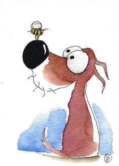 ACEO Original watercolor whimsical animal painting… Animal Paintings, Animal Drawings, Cute Drawings, Watercolor Animals, Watercolor Paintings, Watercolour, Dog Illustration, Illustrations, Art Carte