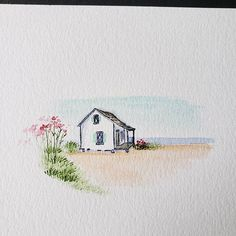 Improvised for the beach cottage tutorial. The videos are so fun and relaxing! Like the watercolor ? Improvised for the beach cottage tutorial. The videos are so fun and relaxing! Like the watercolor ? Beach Watercolor, Watercolor Sketch, Watercolor Cards, Watercolor Landscape, Watercolour Painting, Painting & Drawing, Watercolors, Plants Watercolor, Beach Drawing