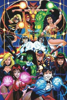 The women of DC and Marvel by George Perez, Scarlet Witch, matched, side by… - Visit to grab an amazing super hero shirt now on sal Comic Book Artists, Comic Book Characters, Comic Book Heroes, Marvel Characters, Comic Artist, Comic Character, Comic Books Art, Marvel Comics, Arte Dc Comics