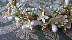 Superb antique French bride's wax orange blossom wedding crown & finery