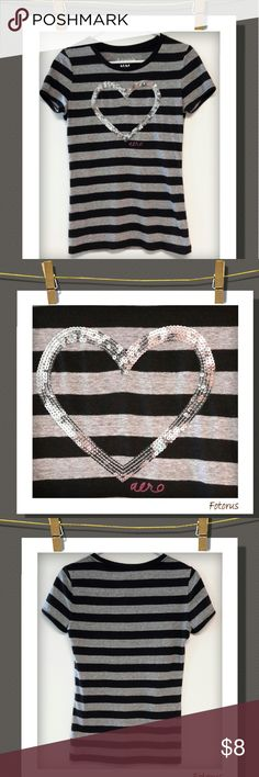 ❤Aero Top❤ Cute striped top with a sequined heart..68% Polyester 26% Cotton 6% Rayon Aeropostale Tops Tees - Short Sleeve
