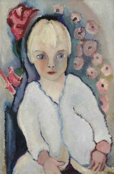 Portrait of a child in white, Charley Toorop. Dutch Painter  (1891-1955)   ( Daughter of Jan Toorop)