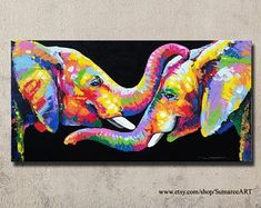 60 x 120 cm, colorful elephant painting, wall decor #OilPaintingElephant