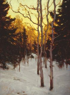 aspens in late winter, oil, Michael j. Lynch.