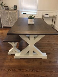 Free Local Delivery (Read Table Description for Details) - Freight Shipping Not Available Farmhouse Table With Bench, Farmhouse Kitchen Tables, Farmhouse Furniture, Modern Farmhouse, Diy Dining Room Table, Dyi, Home Decor, Trestle Table, Wood Tables
