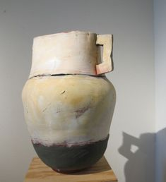"Ceramist Nancy Selvin's ""Large Pot with Green Base, Terracotta, Underglaze, 2012,"" 22"" high. Photo by BF Newhall    http://barbarafalconernewhall.com/2013/11/14/how-to-grandmother-when-the-grandkids-live-2500-miles-away/"