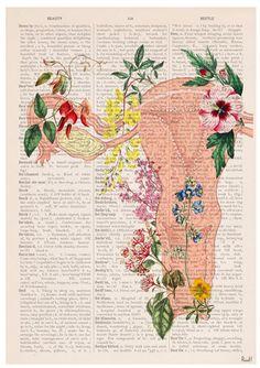 Flowery uterus collage Woman gift Feminist art Wall by PRRINT