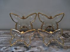 Vintage Set of Four Glass Butterfly Dishes by DianesStuffForYou, $20.00