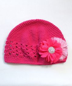 this Hot Pink Flower Crochet Beanie - sc & shell? Inspiration