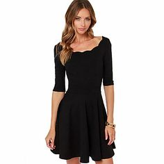 Women's Round Collar Black Fit A-Line Dresses - EUR € 19.38