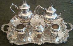 Antique Silver Tea Set, Coffee Service Figural Finial   Manufacturer: BS Co. - SilverCollect.com
