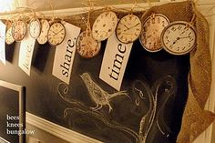 Faux printed clock face garland. DIY paper craft idea for creating your own birthday, holiday or New Year party decorations.