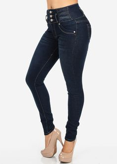 High Waisted Skinny Jeans with Embellished Waist | clothes ...