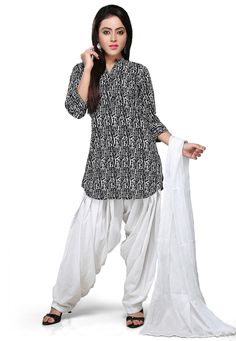 BLACK AND WHITE COTTON READYMADE PATIALA SUIT