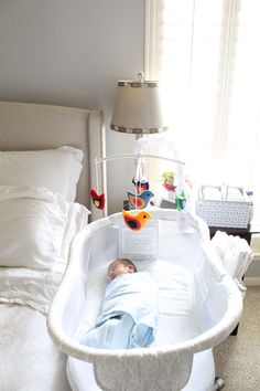 SAFE SLEEP TIPS FOR BABY: FROM BASSINET TO CRIB from Seven Graces Blog featuring the HALO Bassinest