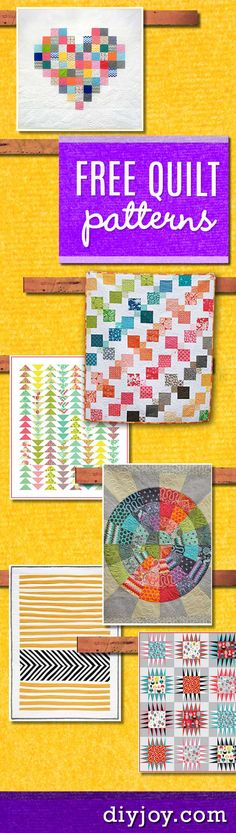 Free Quilt Patterns - Free Quilting Pattern Ideas and Tutorials for DIY Quilt Projects at http://diyjoy.com/free-quilt-patterns-easy-sewing-projects-These free quilt patterns vary from traditional quilts to baby quilts. Along with these free sewing patterns, there are also quilting tutorials that give you step by step instructions for these beautiful quilt patterns.