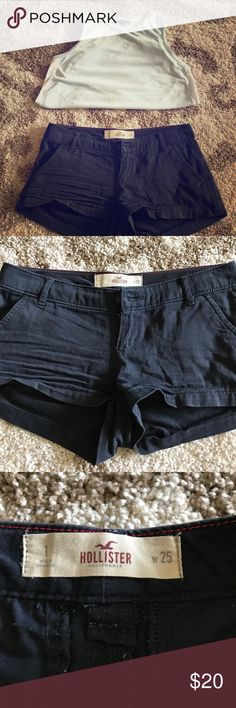 Hollister Chino Shorties Classic and stylish Hollister Chino Shorties.  Super soft material and a great navy neutral! These are used but still in great condition! The Chino style is timeless, but the short cut keeps them stylish and young! Hollister Shorts
