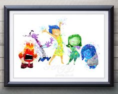 Disney Inside Out Watercolor Painting Art Poster Print Wall Decor https://www.etsy.com/shop/genefyprints