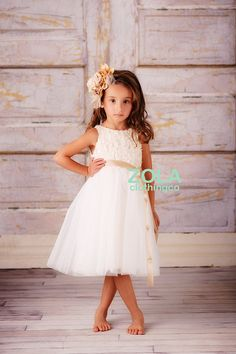 champagne rose ivory flower girl dress by zolaclothingco on Etsy