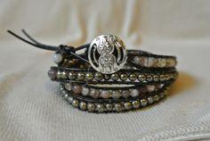 Mixed Gemstone Boho Chic beaded bracelet by PollysBaubles on Etsy, $35.00
