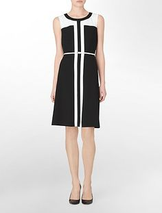 sleeveless fit + flare belted colorblock dress | Calvin Klein