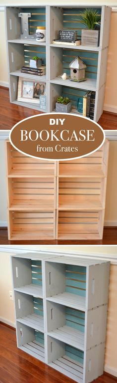 DIY Bookcase from Crates