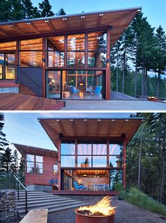 20 Awesome Examples Of Pacific Northwest Architecture // Heavy use of wood and steel protect this house from the elements and large windows take advantage of the views of the surrounding landscape. Shed Design, House Design, Pacific Northwest Style, Casa Loft, Modern Shed, Modern Houses, Modern Mountain Home, Mountain Homes, Roof Architecture