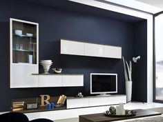Arte-M Linea Contemporary TV Unit and Wall Storage System in White or Grey with Oak detail