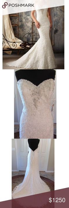 MORI LEE 1911 Trumpet Wedding Dress 4 Full ivory lace w/silver and sparkly beads at the top of the sweetheart neck line- continues around to the mid back in a wide V-shape.  Lace is intricately cut at the hem line. No alterations. Bought this year but decided to go with a different dress for the wedding - never worn just tried on a couple of times. 👰🏼💍(This is my soon to be sister in law's dress - I'm unfortunately not getting married yet) 😛 Mori Lee Dresses Wedding