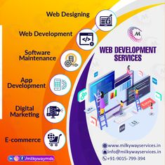 Web Development services ✅ Web Designing ✅ Web Development ✅ Software Maintenance ✅ App Development ✅ Digital Marketing ✅ E-commerce Call ☎️ at : +91-9015-799-394 For more information about service visit our site right now- . . #development #websitedevelopment #webdevelopment #website #websitedesign #webdesign #developer #designing #technology #ecommerce #creative #design #software #softwaredevelopment #startup #business #digitalmarketing #socialmedia Website Development Company, Mobile App Development Companies, Software Development, Marketing Tools, Digital Marketing, Parallax Website, Local Seo Services, Web Design, Creative Design