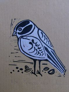 Sparrow Lunch -chine colle lino print.